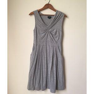Anthro Deletta Grey Gathered Draped Dress